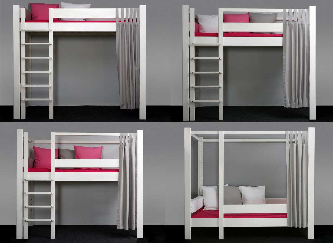 lit sur lev enfant volutif 90x200 cm en pin massif de. Black Bedroom Furniture Sets. Home Design Ideas