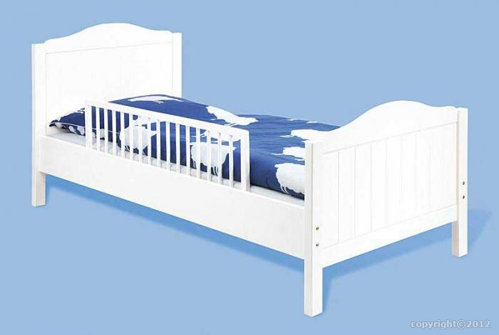 barri re de s curite en h tre massif laqu blanc pour lit enfant pinolino. Black Bedroom Furniture Sets. Home Design Ideas